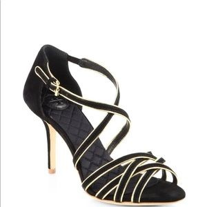 Tory Burch Women Black And Gold Heels Size 8